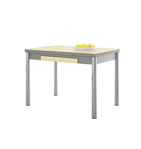 ASTIMESA Alas Cristal Mesa de Cocina, Metal, Beig, 90x50cm