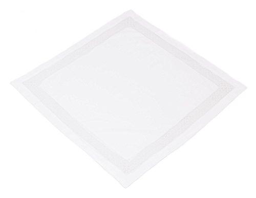 Nappe élégante en blanc mat, bord crochet de fabrication soignée