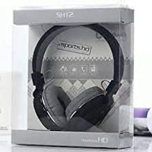 Wireless Bluetooth Headphone SH 12 Crystal Clear Sound Deep Bass Support FM and SD Card Slot with Music and Calling Controls Adjustable Pads for Small and Big Head Black