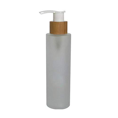 1 PCS 120 ml / 4 oz Vide Rechargeable En Verre Dépoli Pompe Presse Bouteille Lotion Distributeur Maquillage Récipient Pot Flacon Titulaire Pot avec Bamboo Cap pour Emulsion Essence Sérum