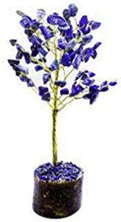 FASHIONZAADI Lapis Lazuli Gemstone Bonsai Money Tree Feng Shui Crystal Chakra Stone Healing Crystals Trees Good Luck Home Office Table Décor Health Prosperity Gift Size 7-8 inch (Silver Wire)