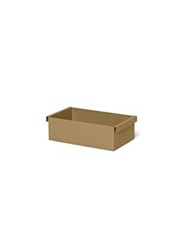 ferm Living 1104263184 - Contenitore in metallo verniciato a polvere, per interni ed esterni, 25,7 x 7,6 x 14,7 cm, colore: Verde oliva