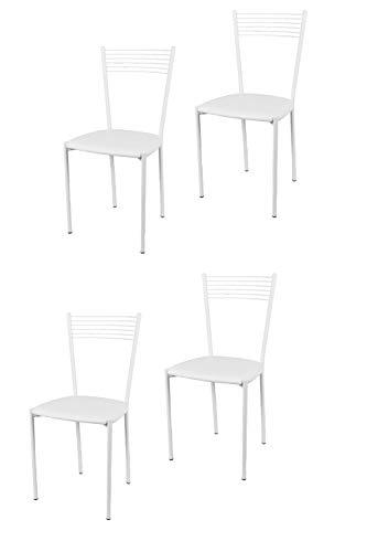 Tommychairs - Set 4 sedie modello Elegance per cucina bar e sala da pranzo, struttura in acciaio verniciata colore bianco e seduta imbottita e rivestita in pelle artificiale colore bianco