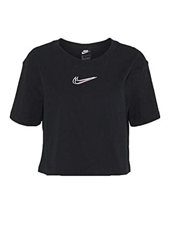 Nike Damen NSW Crop PRNT T-Shirt, Black, S