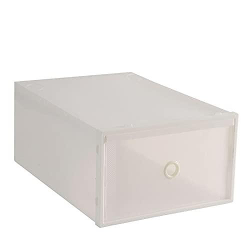 YLR Skolåda flip öppet skydd transparent stapelbar förvaringslåda skor låda fodral organisatör, vit