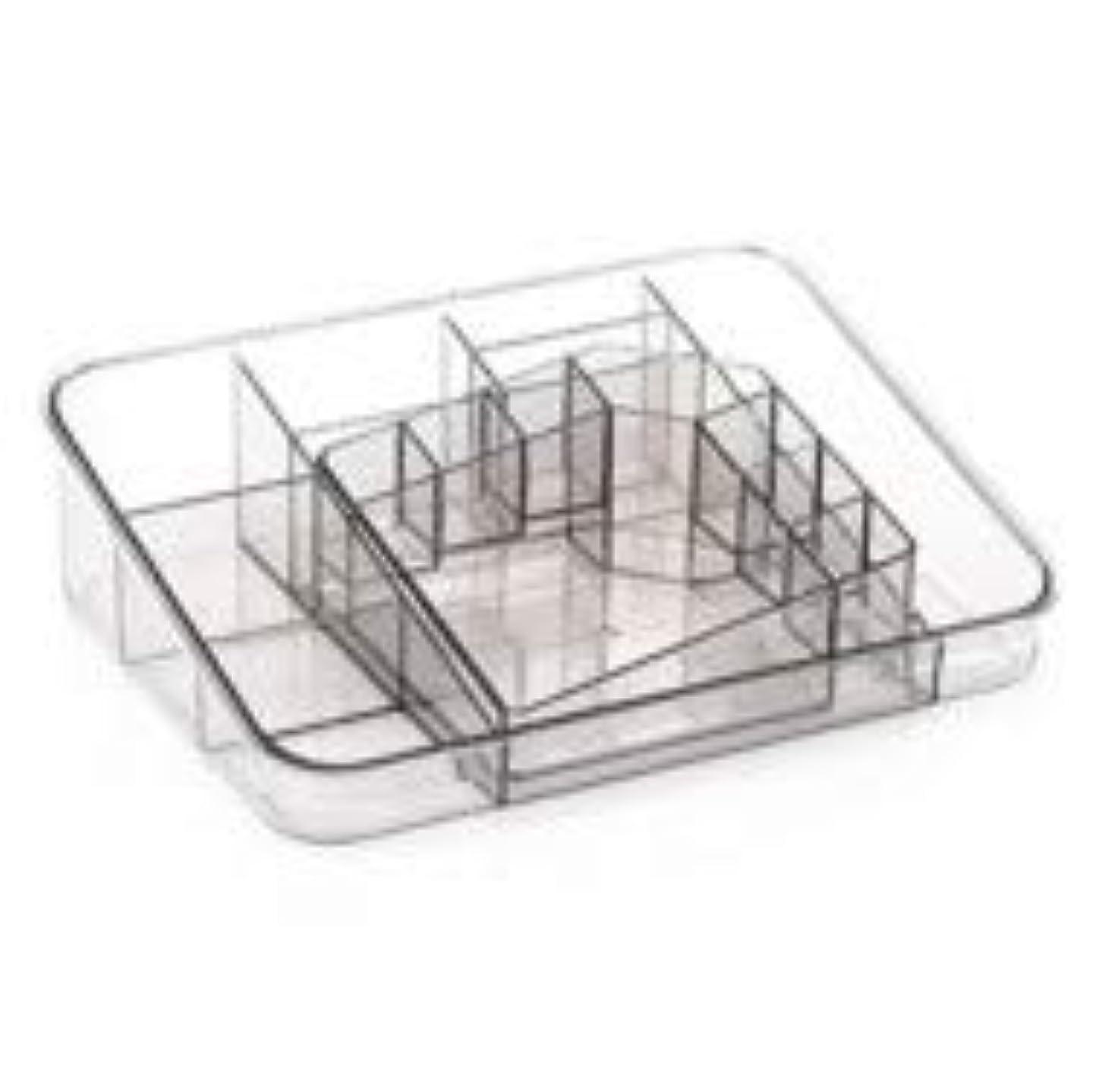 しないでくださいに対処する促す透明アクリル化粧品収納ボックスサイズの組み合わせツーピース多分割化粧品デスクトップ仕上げボックス (Color : グレー)