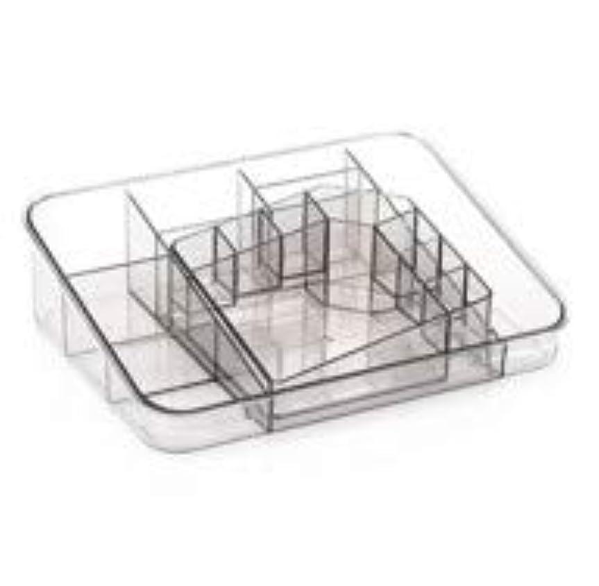 切り下げシステム意図透明アクリル化粧品収納ボックスサイズの組み合わせツーピース多分割化粧品デスクトップ仕上げボックス (Color : グレー)
