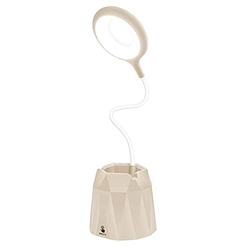 Aibecy Lámpara de mesa LED recargable Soporte para bolígrafo Soporte para teléfono Lámpara de escritorio de brillo regulable de 3 niveles Luz de anillo de protección para los ojos Luz de noche