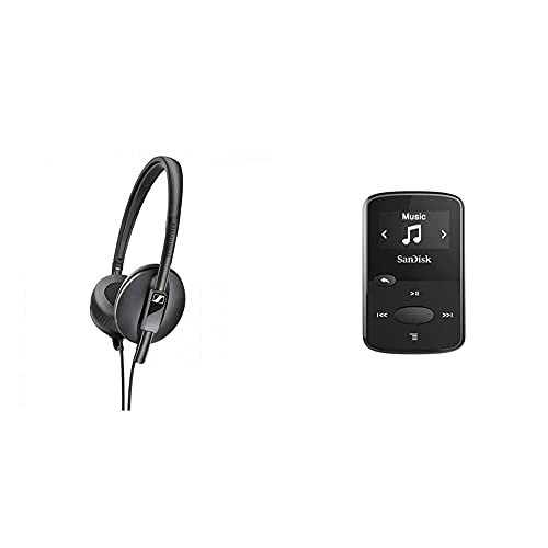 Sennheiser HD 100 On-Ear Lightweight Foldable Headphones - Black & SanDisk Clip Jam 8GB MP3 player - Black