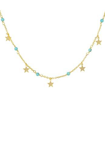 LATELITA Turquoise Star Choker Necklace Gold