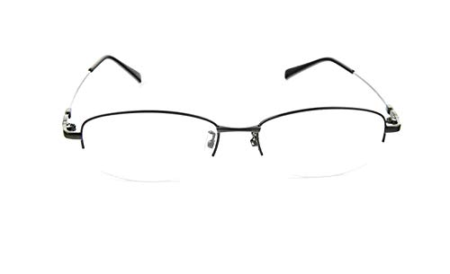 Fuyingda Schwarz Memory Metall Hälfte Rahmen Kurzsichtigkeit Brille, Frau Anti-Strahlung Kurzsichtige Brillen Kurzsichtig Goggles Spectacles Eyewear -0.5 Stärke