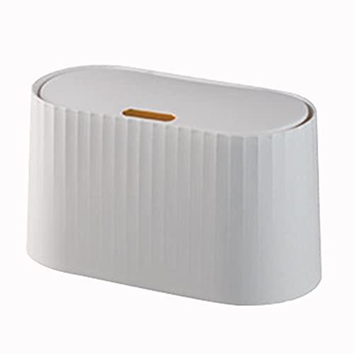 TGUS Papelera de escritorio con tapa, para oficina en casa, dormitorio, cocina y sala de estar (blanco)
