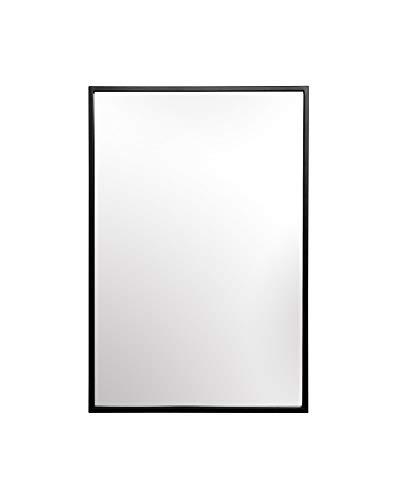 Elegance by Casa Chic - Schwarzer Wandspiegel aus Metall - 90 x 60 cm groß - Galvanisiertes Metall - Ideal für Badezimmer und Wohnzimmer - Schwarz
