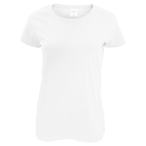 Fruit of the Loom - Maglietta Lady-Fit a Manica Corta - Donna (S) (Bianco)