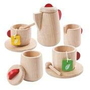 PlanToys Wooden Tea Set (3433) | Sustainably Made from Rubberwood and Non-Toxic Paints and Dyes