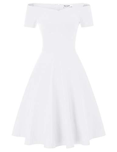 GRACE KARIN Off Shoulder Formal Wedding Cocktail Swing Dress A-line Size L White CL020-8