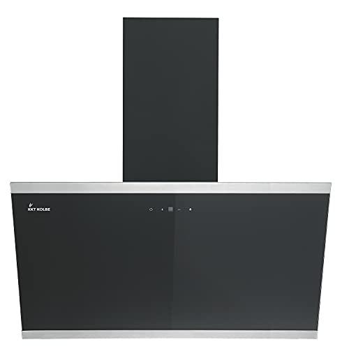 KKT KOLBE/Kopffreie Wandhaube/Dunstabzugshaube / 90cm / Edelstahl/schwarzes Glas/Nachlaufautomatik/SensorTouch Bedienung / LUNA9109S