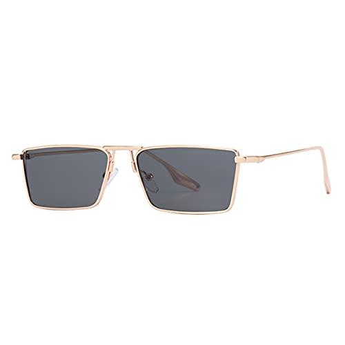 Gafas de Sol, Gafas de Sol de Ojo de Gato de Metal, Moda pequeña Gafas de Sol, Gafas de Regalo Cajas (Size : Golden Black)