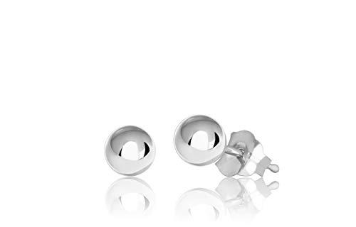 14K White Gold Ball Stud Earrings (4mm - White Gold)