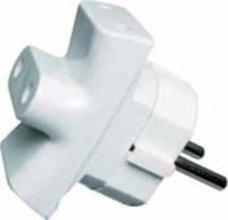 Adaptador triple de corriente SCHUKO 10A 230V, espiga de 4,8mm