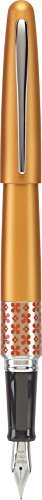 PILOT MR Retro Pop Collection Fountain Pen in Gift Box, Orange Barrel with Flower Accent, Medium Point Stainless Steel Nib, Refillable Black Ink (91443)