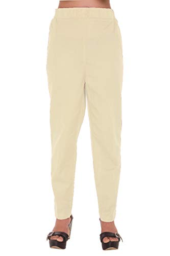 Trendy Pure Cotton Relaxed Fit Casual Womens Trousers, Straight Pants with Side Pockets, Comfort FIT Pajamas, Salwars L-XL (XL, Off-White)