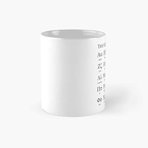 Taza clásica del alfabeto griego, el mejor regalo, tazas de café divertidas, 11 oz