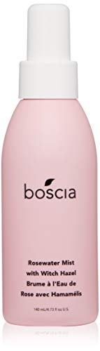 boscia Rosewater Mist with Witch Hazel - Vegan, Cruelty-Free, Natural and Clean Skincare   Alcohol-Free Face Toner with Rosewater, Witch Hazel, and Aloe Vera, 4.73 Fl Oz