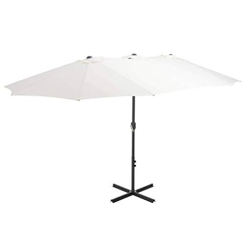 CHHD Garden Parasols Outdoor Parasol with Aluminium Pole 460x270 cm Sand Home Garden Lawn Garden Outdoor Living Umbrellas Outdoor Parasols