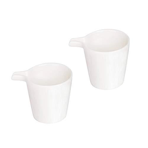 MDZF SWEET HOME Set of 2 Ceramic Creamer Jugs Medium Sauce Pitcher Milk Creamer Coffee Syrup Jar Server Dipping Bowls 4.8 Oz, White - Medium
