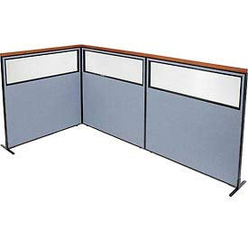 Check Out This Deluxe Freestanding 3-Panel Corner Divider with Partial Window