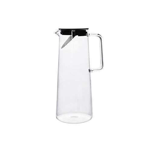 Jarra de Agua Lanzador de vidrio Alto Material de vidrio de borosilicato  Jarra de vidrio resistente a la temperatura alta con partición de té de acero inoxidable Jarras de Cristal ( Color : Black )