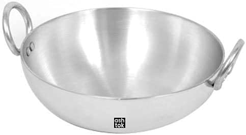 Ashtok Aluminium Kadai | Deep Frying pan | Aluminium kadai | Shallow Cooking kadai Capacity 2500 ml (2.5 Ltrs)