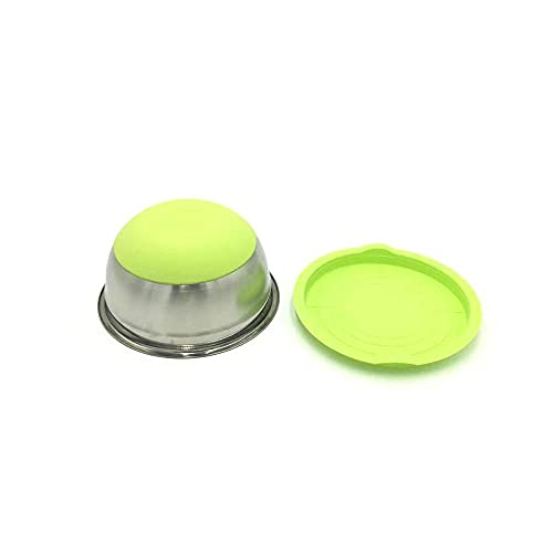 Hand Made Lightweight Bowls Sets 7 Colors Stainless Steel Mixing Bowl With Lid Home Kitchen Egg Mixer Salad Bowls Non-slip Silicone Bottom Food Storage Bowl Set 21-428 (Color : 20cm Green)