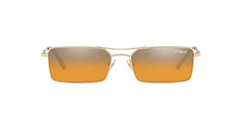 Vogue Eyewear Women's VO4106S Metal Rectangular Sunglasses, Pale Gold/Orange Mirror Silver Gradient, 55 mm