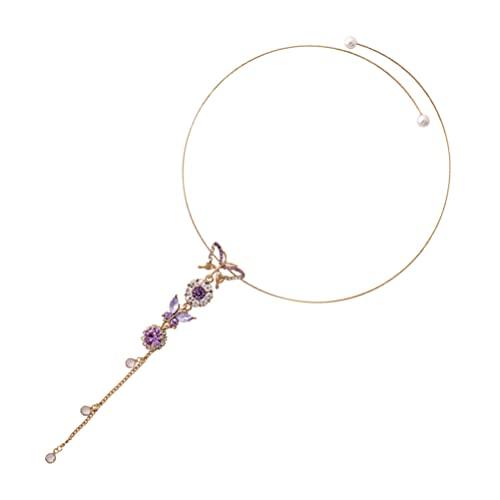 Generic Collar de Mariposa de Cristal Retro Gargantilla de Mariposas Diamantes de Imitación Animal Colgante Collar de Cuello Joyería para Regalos de Graduación de Boda