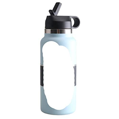 Botella de agua 2.0 Matraz con tapa de paja Acero inoxidable y boca ancha aislada al vacío con tapa flexible a prueba de fugas-China, 32 oz, Frost