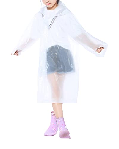 2 Pack Portable Kids Rain Poncho, Opret Reusable Raincoat with Hoods and Sleeves, Durable, Lightweight for Outdoor Activities (white)