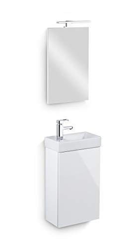 Galdem Bad-Set Cube Gäste WC Set Gästebad Badmöbel Waschbecken Unterschrank Keramikwaschbecken Waschtisch Spiegel LED Beleuchtung Softclose Weiß Hochglanz