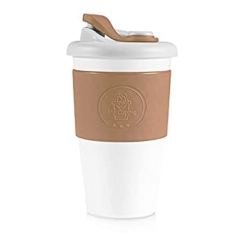 Mr.Cuppie Reusable Coffee Cup Sustainable Travel Mug with Lid and Silicone Sleeve ToGo Portable Drinking Cup Dishwasher and Microwave Safe 16oz  Mocha 16oz