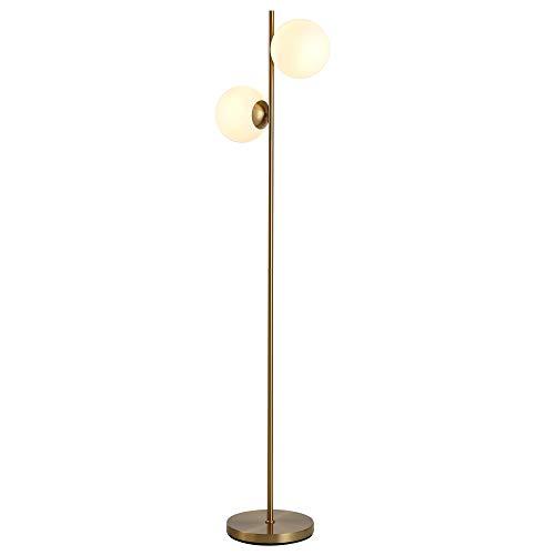 HOMCOM Stehlampe Stehleuchte Standleuchte 2-teiliger Glas-Lampenschirm, Stahl+Glas, 28x28x165cm (Golden+Weiß)
