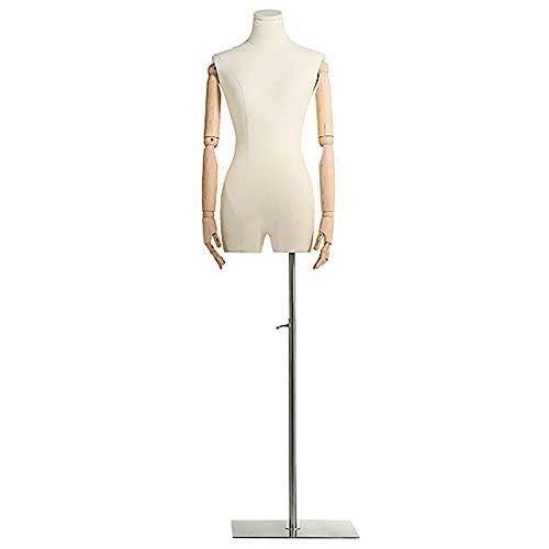 Manekin Biust Kobiecy Manekin, Pionowy Biały Tułów z Tworzywa Sztucznego Manekina, na Bluzki Żakiety Spódnice Suknie Wystawa Manekina Body z Drewnianym Ramieniem