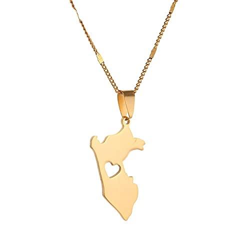QDGERWGY Collares Pendientes de Mapa de Perú de Moda de Acero Inoxidable Mapa de joyería de Cadena de corazón de Perú