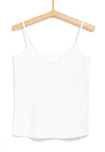 Tex - Camiseta Puntillas para Mujer, Blanco Neutro, M