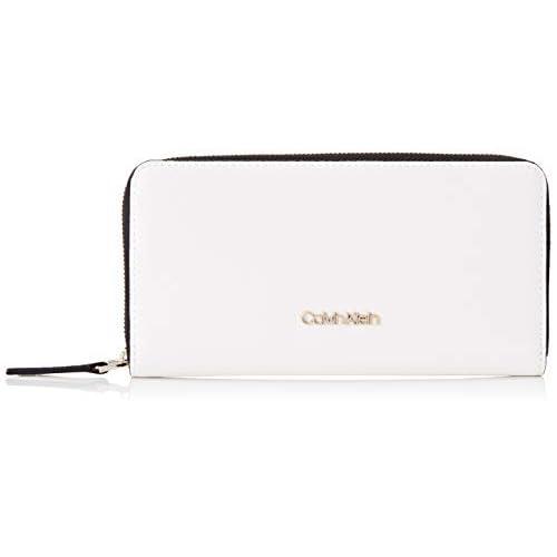 Calvin Klein Ck Must Ziparound Wallet Lg Cav - Portafogli Donna, Bianco (White), 1x1x1 cm (W x H L)