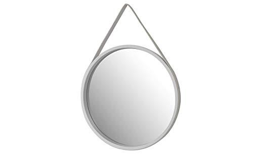 Aspect - Espejo de tocador Decorativo para Colgar en la Pared (50 cm de diámetro, Correa de Piel), Color Blanco