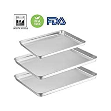 Baking Sheet Pan Set of 3, E-far Stainless Steel Oven Tray Cookie Sheet, Non Toxic & Rust Free, Mirror Polish & Easy Clean, Dishwasher Safe
