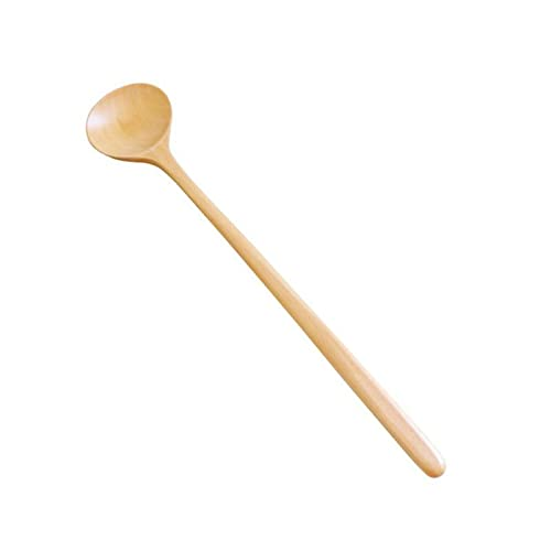 MLOPPTE vajilla,Creative Solid Wood Long Handle Wooden Spoon Sauce Stir Spoons Round Mouth Anti-scalding Hot Pot Stirring Eating B