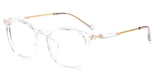 Firmoo Gafas Luz Azul para Mujer Hombre, Gafas Filtro Antifatiga Anti-luz Azul y contra UV400 Ordenador de Gafas Montura TR90 para Protección los Ojos, S1001 Transparentes