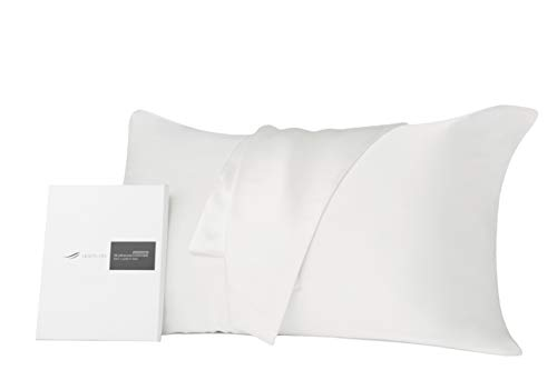 HERZLG LLFE Luxury 100% Pure Mulberry Silk Pillowcase for Hair and Skin,Both Sides 19mm with Hidden Zipper Satin Pillowcase-Ivory-Queen 20x30
